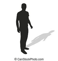 Man standing in shirt and pants. Vector silhouette of young slim tall man