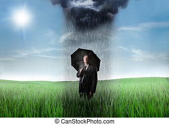 Man standing in the rain