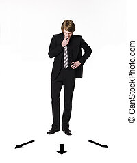 Man standing infront of a choice