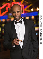 Man standing inside casino