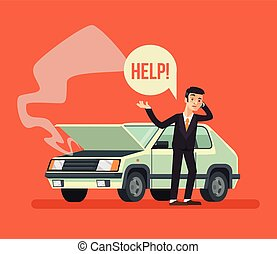 Man standing near broken car and calling. Vector flat...