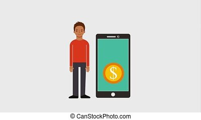 man standing near smartphone with coins money virtual...