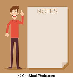 Man Standing Next To Blank Note
