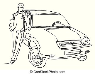 Man standing next to car illustration. Continuous line drawing. Isolated on the white background. Vector monochrome, drawing by lines.