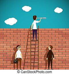 Man standing on a ladder. Brick wall. Stock Vector cartoon illus