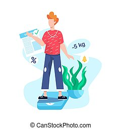 Man standing on bathroom scales. Idea of weight loss and healthy living.