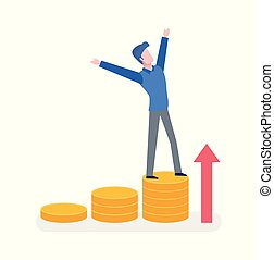 Man Standing on Coins with Hands Up, Arrow Vector