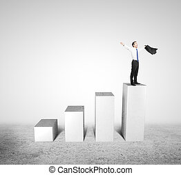 man standing on column - happiness businesses standing on...