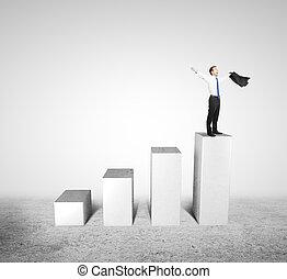 man standing on column
