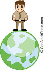 Man Standing on Earth Vector