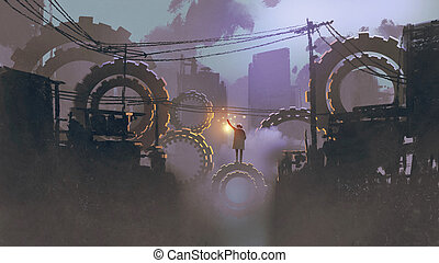 man standing on giant gears in dark city