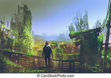 man standing on old bridge in overgrown city
