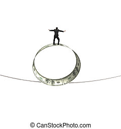 Man standing on roll of dollar bills balancing tightrope