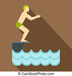 Man standing on springboard preparing to dive icon