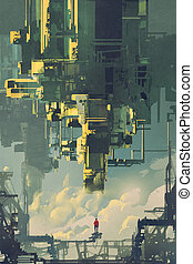 man standing on structure against sci-fi buildings floating in the sky,