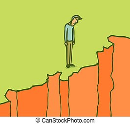 Man standing on the edge of a cliff