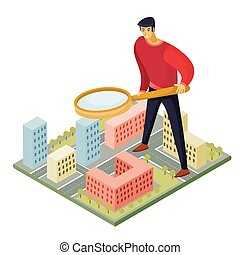 man standing on the map and looking for something with a magnifier, vector illustration