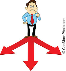 Man standing on the red arrow