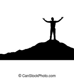 Man standing on top of a mountain with his hands up, simple design