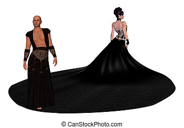 Man Standing On Womans Skirt - A man standing on a womans...