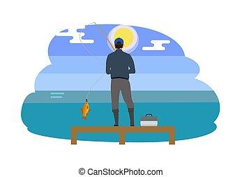 Man Standing on Wooden Pier Vector Illustration
