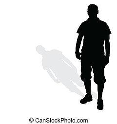 man standing silhouette black vector
