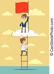man standing while holding the career ladder to get the flag in the clouds.
