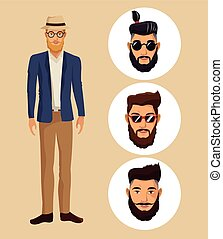 man standing with hat glasses hispter beard and faces men