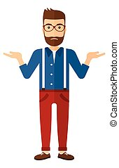 Man standing with open arms. - A young hipster man with the...