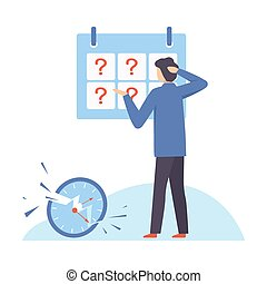 Man stands near a blackboard with question marks. Vector illustration.