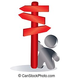 man stands next to a red pillar with pointers in different directions, symbol, isolated object on a white background, vector illustration,