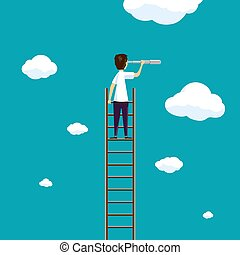 Man stands on a ladder in the sky with clouds.
