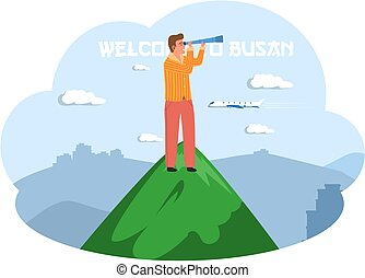 Man stands on green mountain and looks through telescope. Welcome to Busan city travel poster