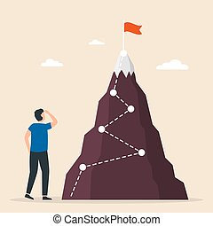 Man stands to look at the flag on top of the mountain. Conquer new heights. Startup, successful business.