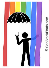 man stands under an umbrella. A rainbow is pouring from the sky. Isolated vector on white background