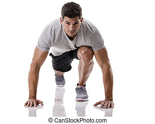 Man start running - An athletic man ready for start running...