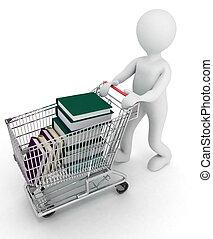 man, stations, de, compleet, kar, van, supermarkt, books., 3d, illustratie, op, een, witte , achtergrond.