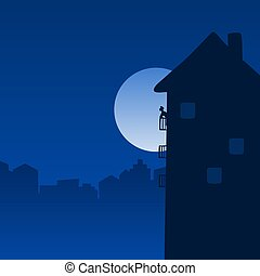 man stay at home standing on balcony in the night with big moon illustration vector