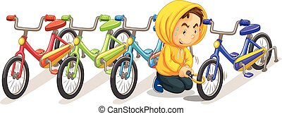 Man stealing bike from the parking lot illustration