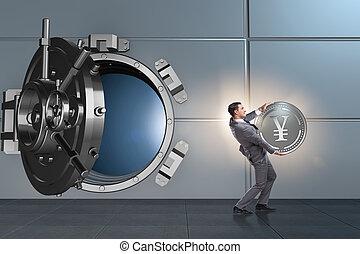 Man stealing money japanese yen from bank