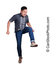 Man Stepping On to Forward. Jump Stomping On Something