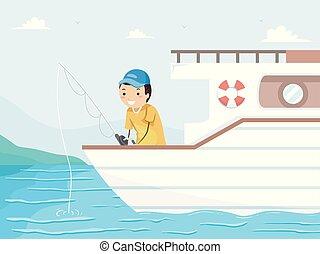 Man Stickman Boat Fishing Illustration
