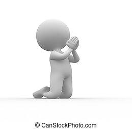 Man - 3d people - man, person on his knees praying.