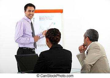 Man stood giving a presentation