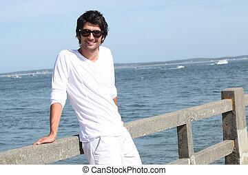 Man stood on jetty