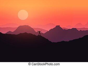 man stood on mountain landscape at sunset 3107