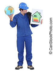 Man stood with globe and energy efficiency logo