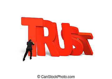 Man stopping red trust word dominoes falling