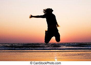 man, strand., silhouette, springt, vrolijke