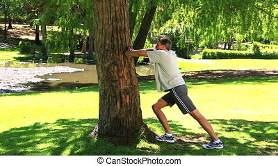Man stretching against a tree